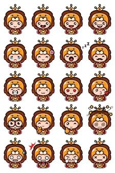 Set design mascotte leone carino