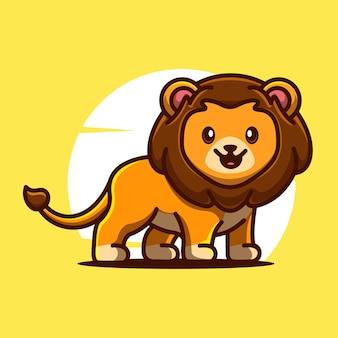 Illustrazione del personaggio dei cartoni animati dell'icona di vettore della mascotte del leone sveglio