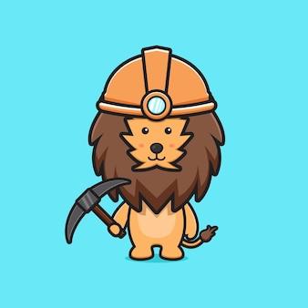 Minatore sveglio del leone che tiene l'illustrazione dell'icona del fumetto del piccone. design piatto isolato in stile cartone animato