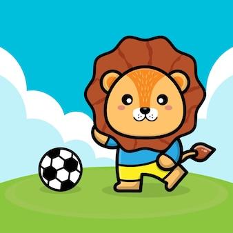 Simpatico leone gioca a calcio fumetto illustrazione