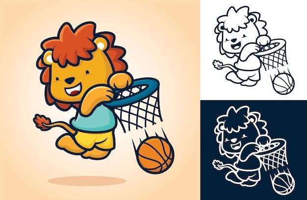 Leone carino che gioca a basket, metti la palla nel canestro. illustrazione del fumetto in stile icona piatta