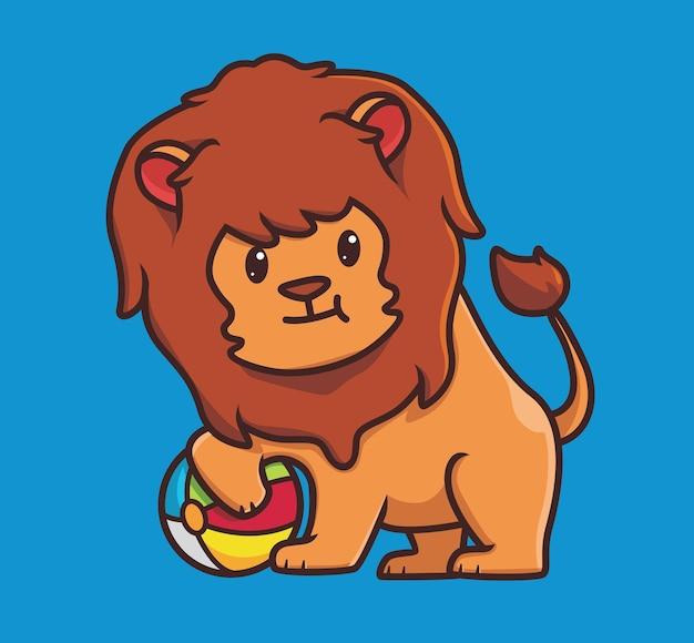Simpatico leone che gioca a palla colorata cartone animato animale vacanza vacanza estate illustrazione isolata