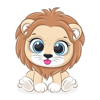 Il leone sveglio si siede e sorride. illustrazione di vettore del fumetto.