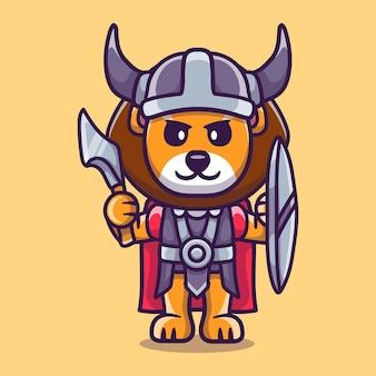 Simpatico leone vichingo con ascia e scudo
