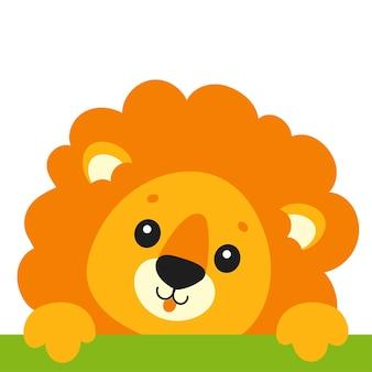 Simpatico leone animale selvatico personaggio dei cartoni animati