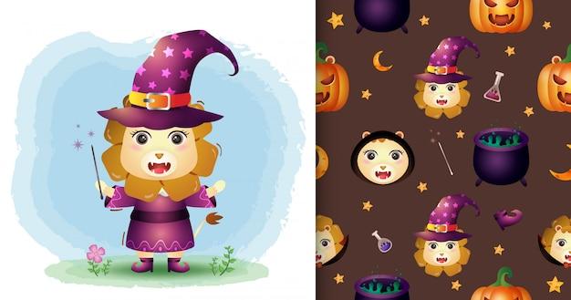 Un simpatico leone con collezione di personaggi di halloween in costume. modelli senza cuciture e illustrazioni