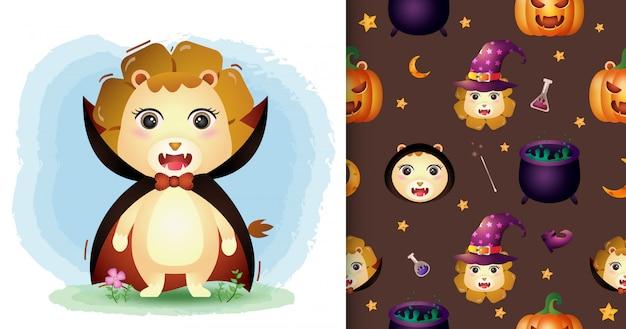 Un simpatico leone con il costume di dracula collezione di personaggi di halloween. modelli senza cuciture e illustrazioni