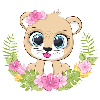 Leone carino con fiori e una ghirlanda. illustrazione vettoriale di un cartone animato.