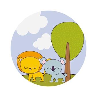 Leone sveglio con koala nel paesaggio