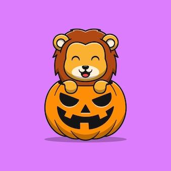 Simpatico leone con illustrazione di cartone animato di zucca