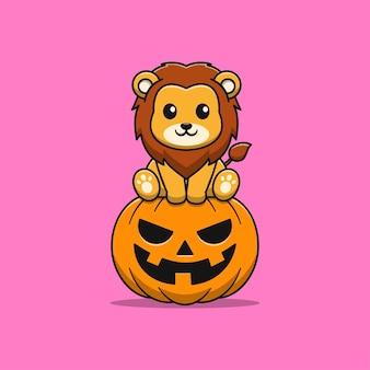 Simpatico leone con illustrazione di cartone animato di zucca Vettore Premium