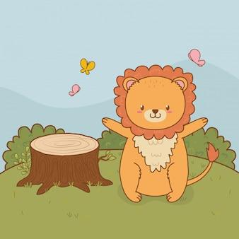 Carino bosco di leoni nel personaggio del campo