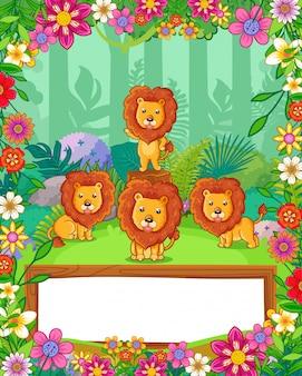I leoni svegli con i fiori e lo spazio in bianco di legno firmano dentro la foresta. vettore