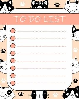 Carino elenco di cose da fare con gatti e zampe in stile cartone animato doodle pianificatore rosa con simpatici animali