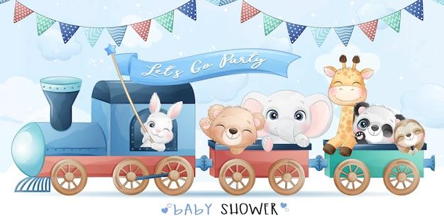 Piccoli animali svegli che si siedono nel treno con l'illustrazione dell'acquerello