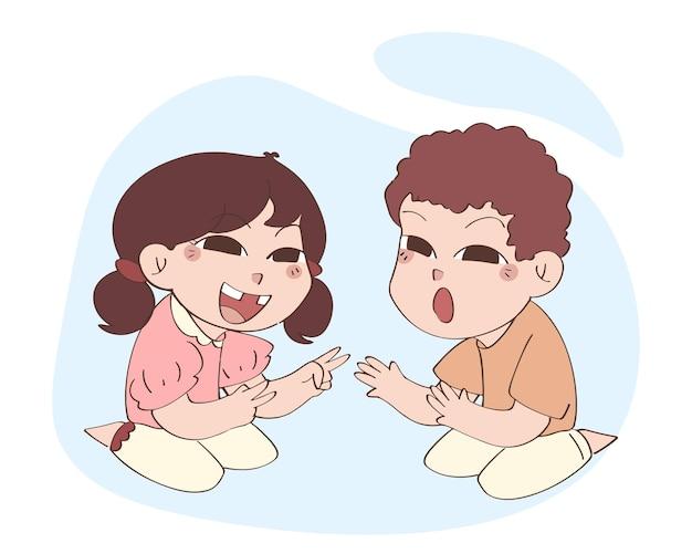 Piccolo neonato e ragazza svegli che giocano insieme, illustrazione disegnata a mano di giorno dei bambini