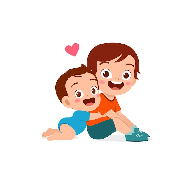 Simpatico neonato abbraccia fratello maggiore fratello