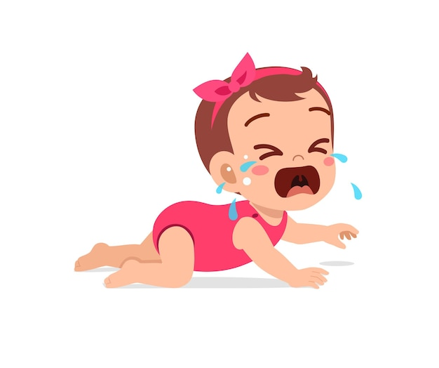 La piccola neonata sveglia mostra l'espressione triste e piange