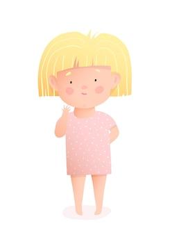 Piccola neonata sveglia che porta un vestito