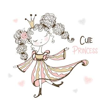 Una piccola ballerina carina in tutù sta ballando.