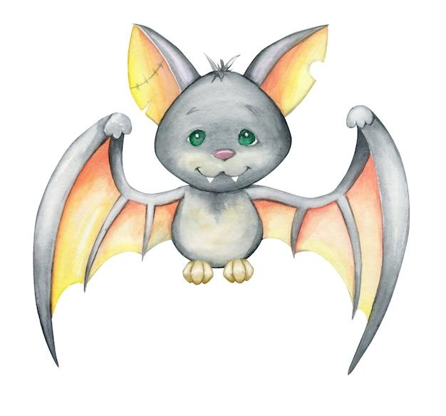 Piccolo pipistrello sveglio su una priorità bassa isolata. acquerello, animale, stile cartone animato, per feste di halloween.