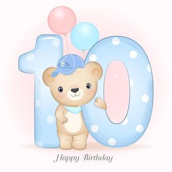 Festa di compleanno del piccolo orso sveglio con l'illustrazione di numero Vettore Premium
