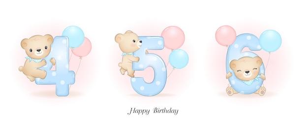 Festa di compleanno del piccolo orso sveglio con l'illustrazione di numero