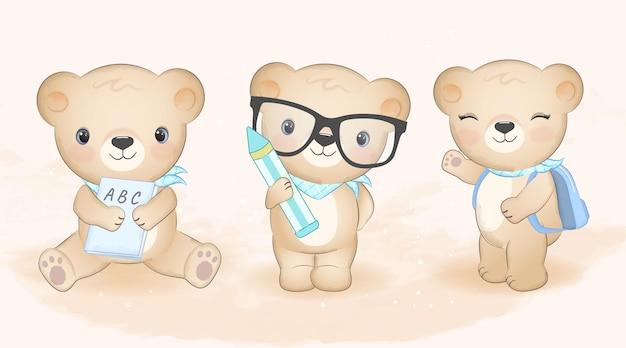 Simpatico orsetto e set di libri disegnati a mano illustrazione
