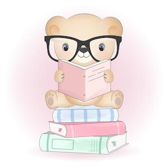 Simpatico orsetto e libri disegnati a mano illustrazione