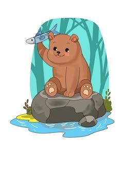 Piccolo orso sveglio che cattura i pesci