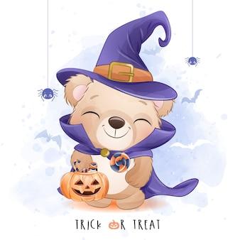 Piccolo orso sveglio per il giorno di halloween con l'illustrazione dell'acquerello