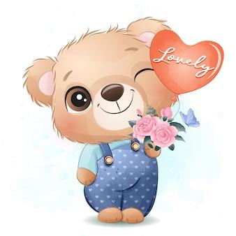 Piccolo orso sveglio che tiene un pallone e un mazzo dell'illustrazione dei fiori