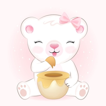 Illustrazione disegnata a mano del fumetto del barattolo di miele e dell'orso piccolo sveglio