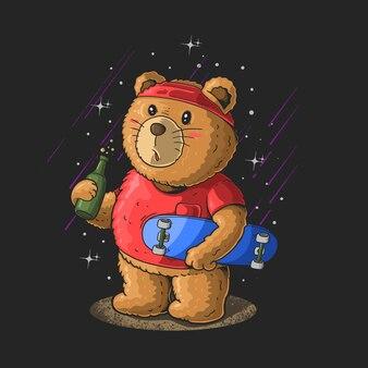 Simpatico orsetto con uno skateboard e un'illustrazione di birra su sfondo nero con stelle