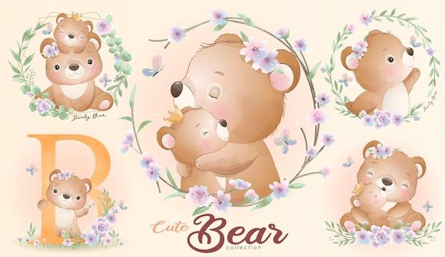 Simpatico orsetto con set di illustrazione dell'acquerello