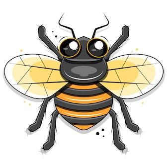 Piccola ape sveglia isolata sull'illustrazione bianca del fondo