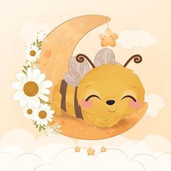 Piccola ape carina nell'illustrazione dell'acquerello