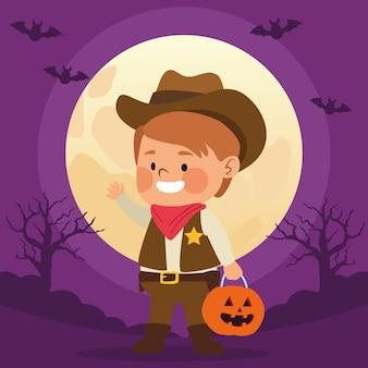 Ragazzino sveglio vestito come un personaggio da cowboy e un disegno di illustrazione vettoriale di notte di luna
