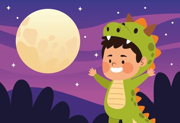 Ragazzino sveglio vestito come un personaggio di dinosauro e un disegno di illustrazione vettoriale di notte di luna