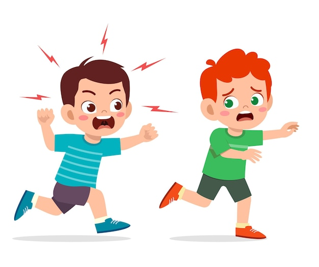 Il ragazzino sveglio si arrabbia e insegue l'amico spaventato