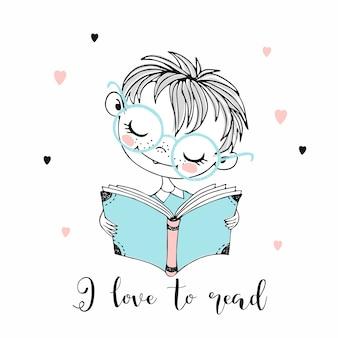 Ragazzino sveglio che legge un libro. mi piace leggere. stile doodle.