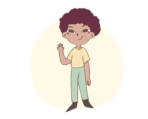 Il ragazzino sveglio sorride e alza la mano per salutare. illustrazione vettoriale di stile disegnato a mano