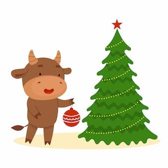 Un simpatico toro tiene una palla in mano e decora un albero di natale. felice anno nuovo simbolo del capodanno cinese cartolina di natale. anno 2021 illustrazione di cartone animato piatto isolato su sfondo bianco