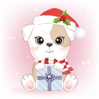 Piccolo bulldog sveglio con l'illustrazione di natale del contenitore di regalo