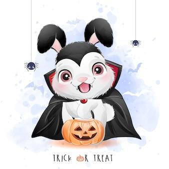 Piccolo coniglietto sveglio per il giorno di halloween con l'illustrazione dell'acquerello
