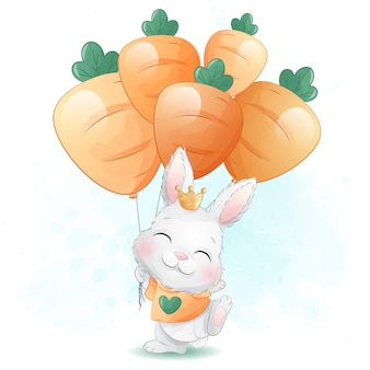 Piccolo coniglietto sveglio che tiene un'illustrazione del pallone della carota
