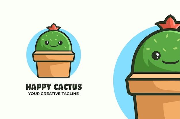 Simpatica mascotte con logo pianta di cactus ca