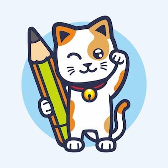 Carino piccola macchina tenere grande matita mascotte disegno vettoriale