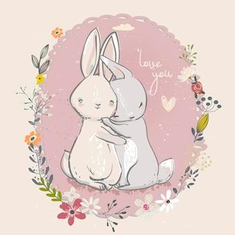 Simpatiche lepri dei cartoni animati con cornice floreale