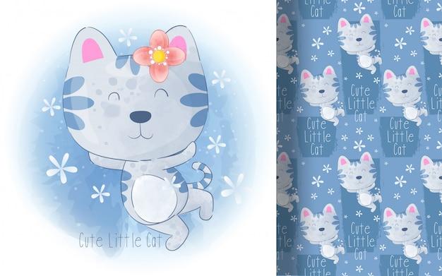 Modello senza cuciture sveglio del piccolo gatto. illustrazione per bambini